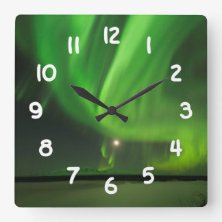 Flowing Aurora Square Wall Clock
