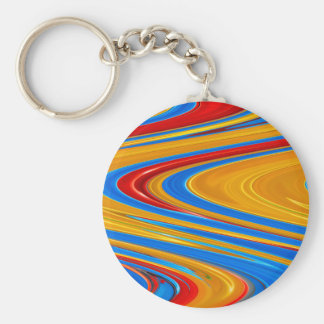 Flowing Color Abstract Basic Round Button Keychain