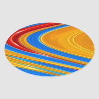 Flowing Color Abstract Oval Sticker