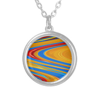 Flowing Color Abstract Silver Plated Necklace