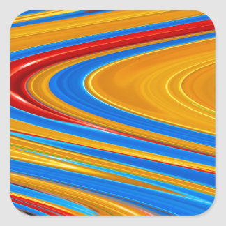 Flowing Color Abstract Square Sticker