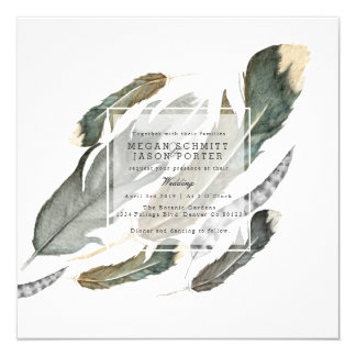 Flowing Feathers Watercolor   Wedding Card