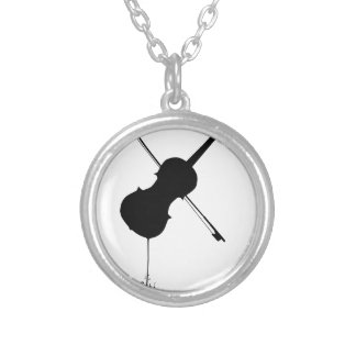 Flowing Fiddle Music Silver Plated Necklace
