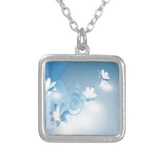 FLOWING FLORAL SILVER PLATED NECKLACE