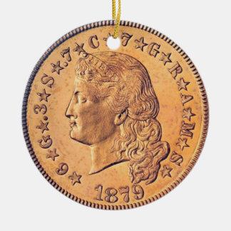 """Flowing Hair Stella four dollar coin Ornament"" Round Ceramic Ornament"