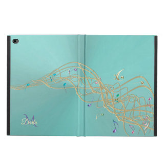 Flowing Music Notes and Clefs Monogram iPad Case