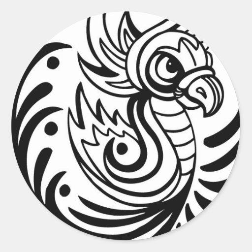 Flowing Regal Bird Design Round Sticker