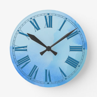 Flowing Shades of Blue Watercolor Effect Round Clock
