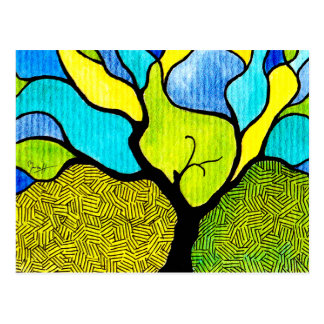 Flowing Tree with Colourful Background Postcard