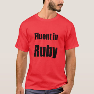 Fluent in Ruby - red programmer shirt