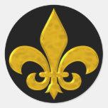 Fluer De Lis Hammered Gold Stickers