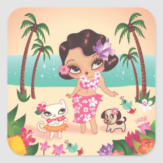 Fluff Hula Lulu Scene Sticker Set