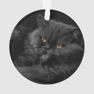 Fluffy Black Cat relaxing Ornament