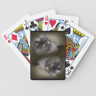 Fluffy Black Cat with Orange Eyes Bicycle Playing Cards