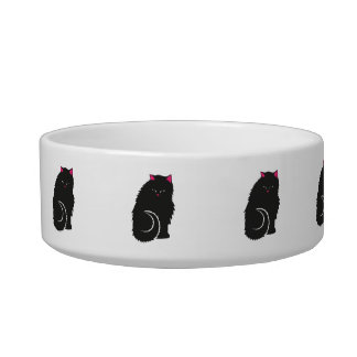 Fluffy Black Kitty Cats Cute Bowl