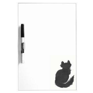 Fluffy Black Kitty Dry Erase White Board