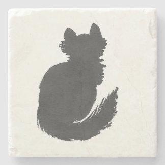 Fluffy Black Kitty Stone Coaster