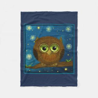 Fluffy Brown Owl Fleece Blanket