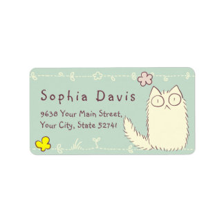Fluffy Cat and Yellow Butterfly Custom text Label