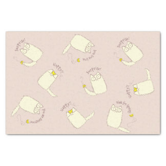 Fluffy Cat and Yellow Butterfly Tissue Paper
