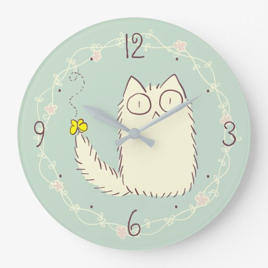 Fluffy Cat and Yellow Butterfly Wallclock