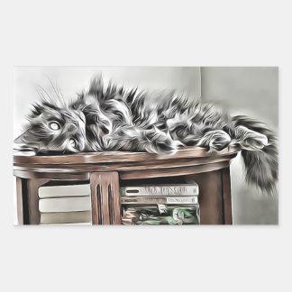 Fluffy cat bookish sticker