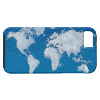 Fluffy clouds world map iPhone 5 cover