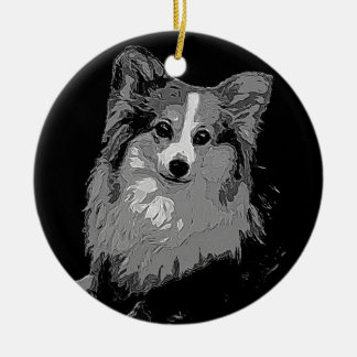 Fluffy Corgi Ceramic Ornament