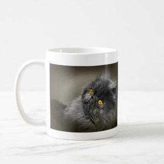Fluffy Dark Cat with Orange Eyes Coffee Mug