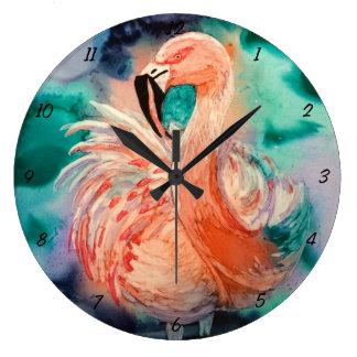 Fluffy Flamingo Large Clock