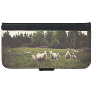 Fluffy Flock of Sheep & Baby Field Trees Rocks iPhone 6 Wallet Case