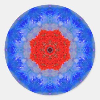 Fluffy Flower Mandala Classic Round Sticker