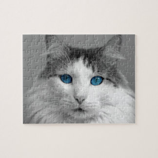 Fluffy Gray and White Blue-Eyed Cat Jigsaw Puzzle