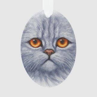 Fluffy Gray Tabby Cat Kitten Face Ornament