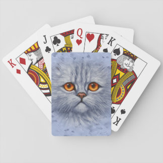 Fluffy Gray Tabby Cat Kitten Face Playing Cards