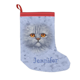 Fluffy Gray Tabby Cat Kitten Face Small Christmas Stocking