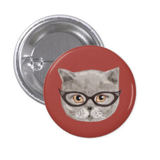 Fluffy grey cat wearing glasses 1 inch round button