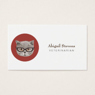 Fluffy Grey Cat Wearing Glasses Business Card