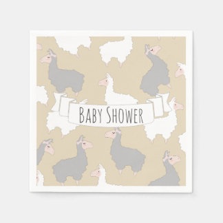 Fluffy Grey & White Llamas Baby Shower Napkin