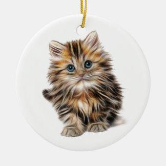 Fluffy Kitten Ceramic Ornament