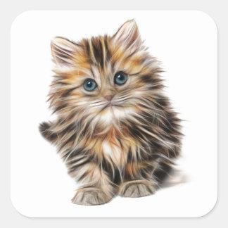 Fluffy Kitten Square Sticker