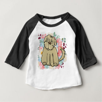 Fluffy Large Dog with Flowers Baby T-Shirt