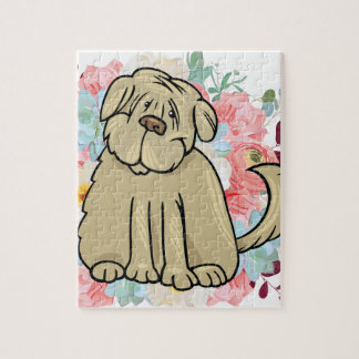 Fluffy Large Dog with Flowers Jigsaw Puzzle