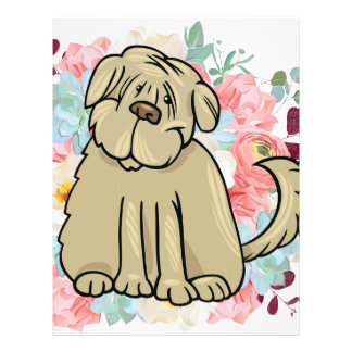 Fluffy Large Dog with Flowers Letterhead