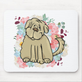 Fluffy Large Dog with Flowers Mouse Pad