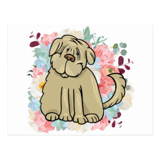 Fluffy Large Dog with Flowers Postcard