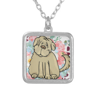 Fluffy Large Dog with Flowers Silver Plated Necklace