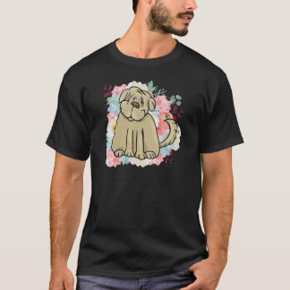 Fluffy Large Dog with Flowers T-Shirt