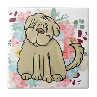 Fluffy Large Dog with Flowers Tile