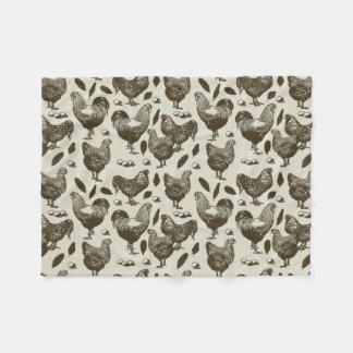 "Fluffy Layer ""Toile Chickens"" Fleece Blanket"